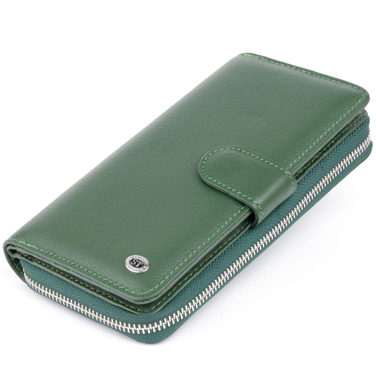 Вертикальний місткий гаманець зі шкіри унісекс ST Leather 19304 Зелений