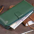 Вертикальний місткий гаманець зі шкіри унісекс ST Leather 19304 Зелений, фото 8