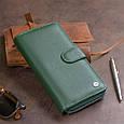 Вертикальний місткий гаманець зі шкіри унісекс ST Leather 19304 Зелений, фото 9
