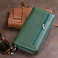 Вертикальний місткий гаманець зі шкіри унісекс ST Leather 19304 Зелений, фото 10