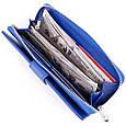 Вертикальний місткий гаманець зі шкіри унісекс ST Leather 19305 Синій, фото 4