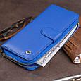 Вертикальний місткий гаманець зі шкіри унісекс ST Leather 19305 Синій, фото 8
