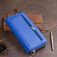 Вертикальний місткий гаманець зі шкіри унісекс ST Leather 19305 Синій, фото 10