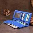 Вертикальний гаманець на кнопці унісекс ST Leather 19205 Синій, фото 6
