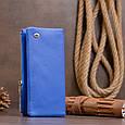 Вертикальний гаманець на кнопці унісекс ST Leather 19205 Синій, фото 8