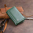 Горизонтальное портмоне из кожи унисекс на магните ST Leather 19332 Зеленое, фото 9