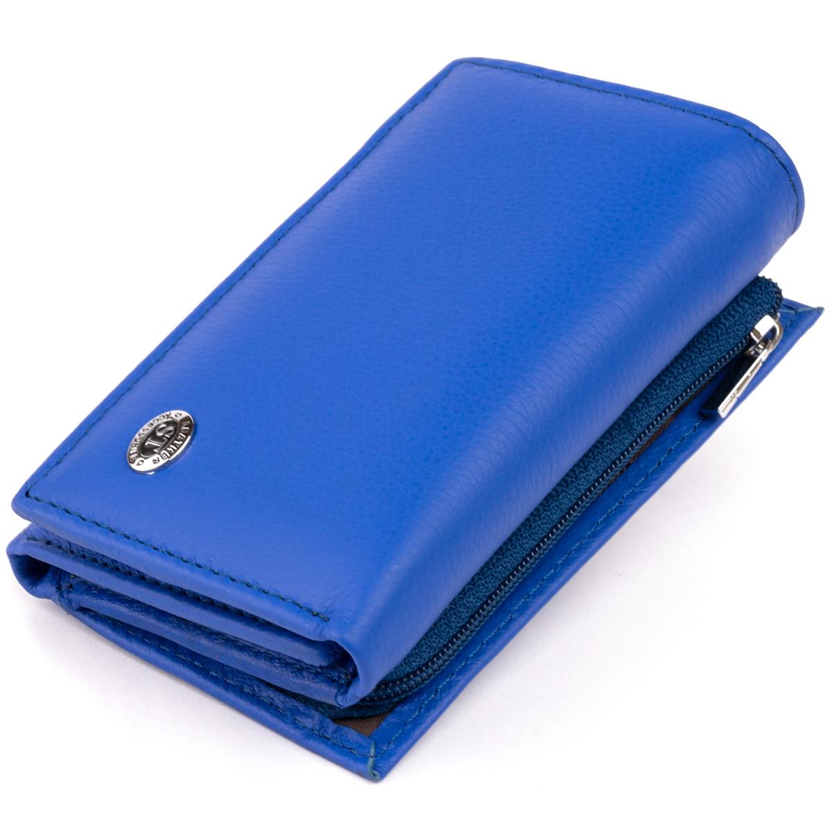 Горизонтальне портмоне зі шкіри унісекс на магніті ST Leather 19338 Синій