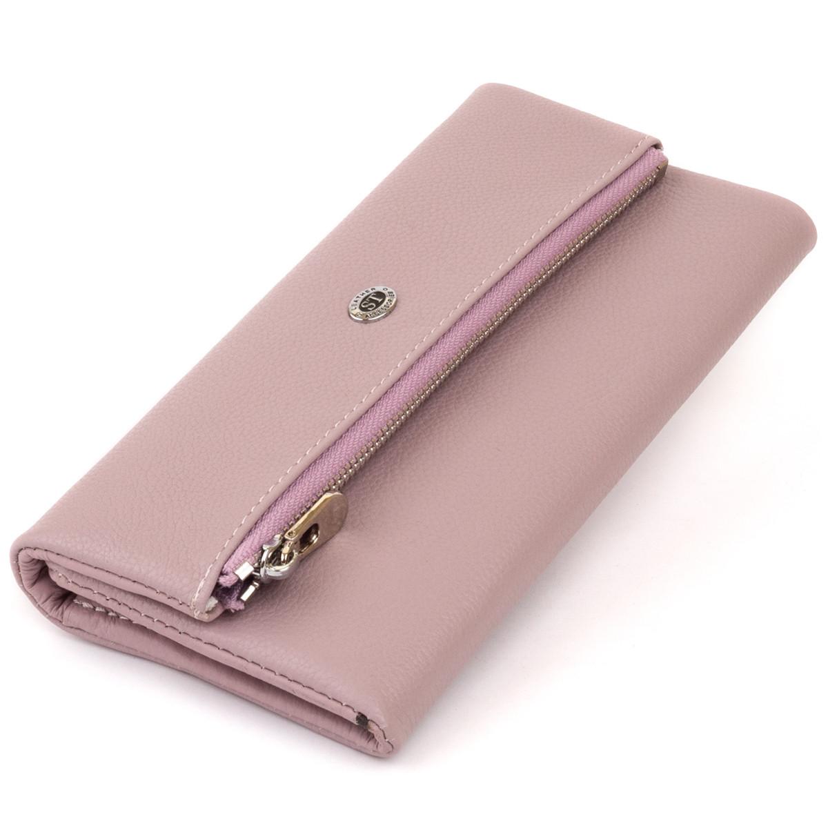 Клатч конверт з кишенею для мобільного шкіряний жіночий ST Leather 19269 Ліловий