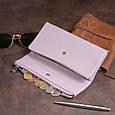 Клатч конверт з кишенею для мобільного шкіряний жіночий ST Leather 19269 Ліловий, фото 7