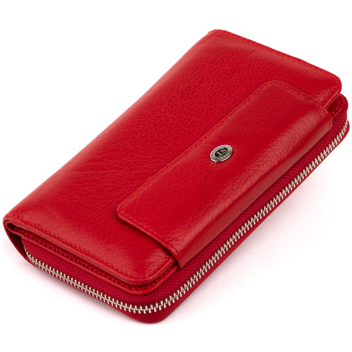Гаманець зі шкіри на засувці ST Leather 19343 Червоний