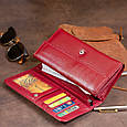 Кошелек кожаный в два сложения женский ST Leather 19288 Бордовый, фото 6