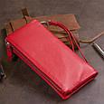 Гаманець-клатч зі шкіри з кишенею для мобільного ST Leather 19315 Червоний, фото 7