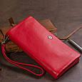 Гаманець-клатч зі шкіри з кишенею для мобільного ST Leather 19315 Червоний, фото 9