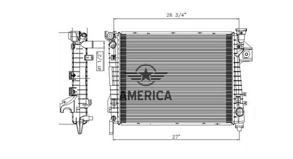 Радиатор охлаждения 5.7L TYC 2813 Dodge Ram 1500 Pickup Ram 2500 Pickup Ram 3500 Pickup