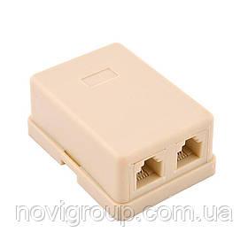 Розетка RITAR UTP RJ12 6P4C 2 порт. телефонна накладна біла, пакет, Q1000