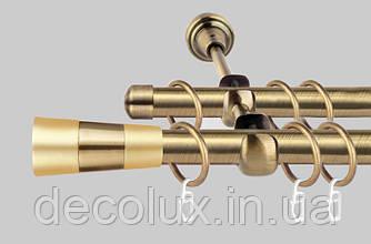 Карниз для штор металлический, двухрядный 19 мм Валео Антик