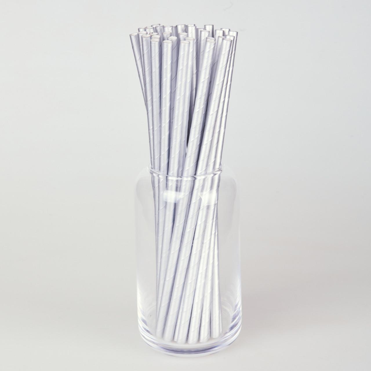 Бумажные трубочки 200 мм (250 шт.) серебро