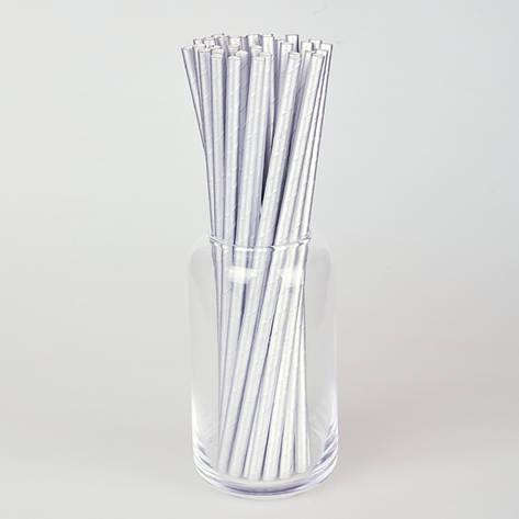 Бумажные трубочки 200 мм (250 шт.) серебро, фото 2