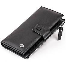 Оригинальный кошелек кожаный женский на хлястике с кнопкой ST Leather 19280 Черный