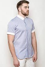 Модная мужская рубашка с коротким рукавом в полоску классическая синяя, светло-серая, серая