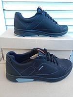 Черные кожаные подростковые кроссовки