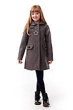 Теплое кашемировое пальто для девочки демисезонное без подкладки 122-140