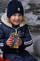 "Детский зимний костюм ""Армани"" т. стеганная плащевка на синтепоне / темно-синий"