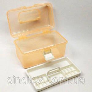 18х9х10см пластиковая тара (чемоданчик, контейнер, органайзер) для рукоделия и шитья (657-Л-0238-1)