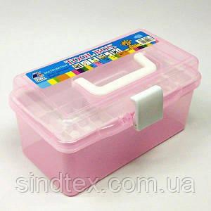 Маленькая пластиковая тара (чемоданчик, контейнер, органайзер) для рукоделия и шитья (НП-5663)