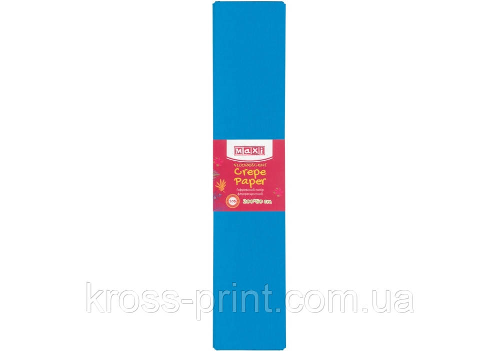 Папір гофрований флуоресцентний 20%, 50х200см, блакитний