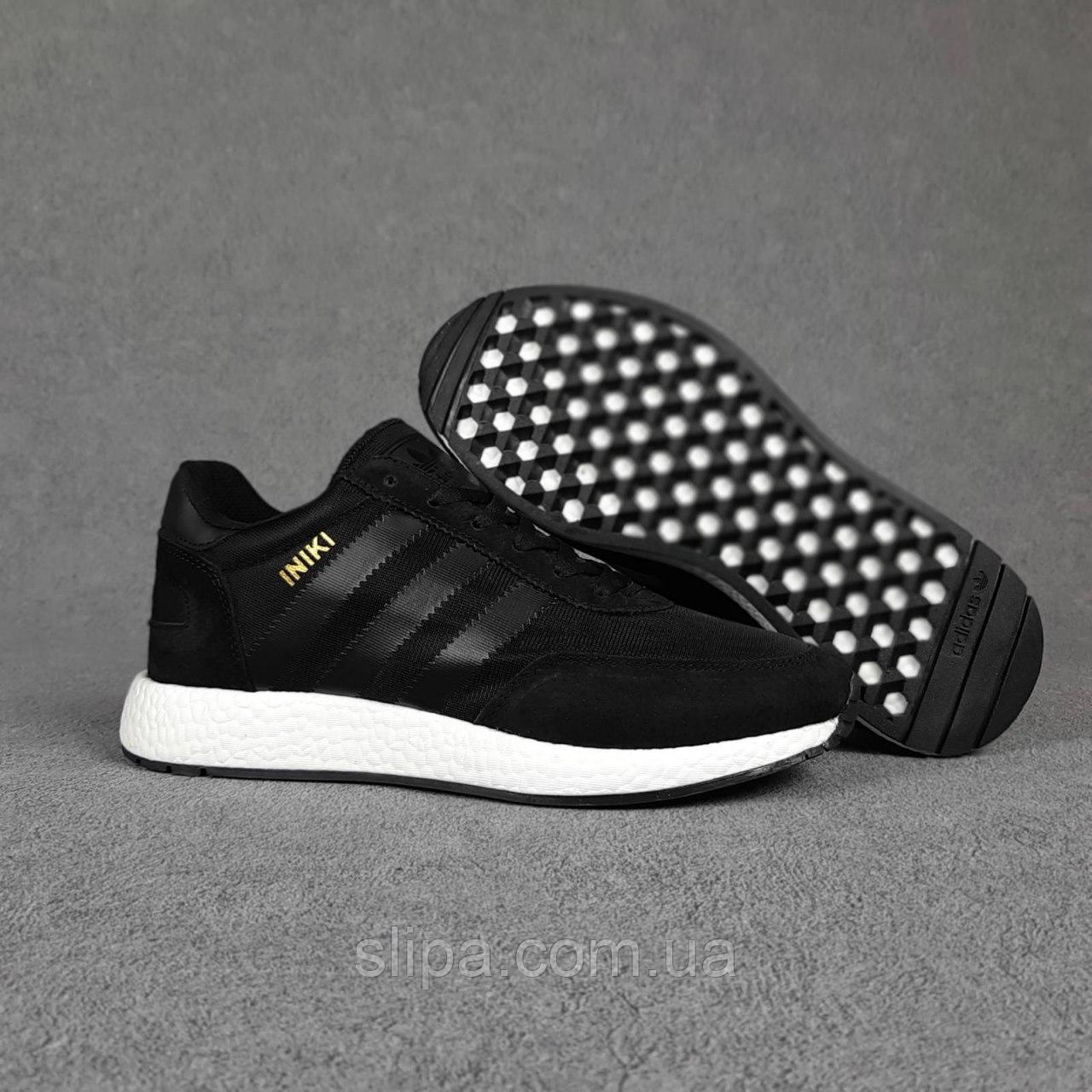 Мужские замшевые кроссовки Adidas INIKI, чёрные