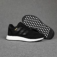 Мужские замшевые кроссовки Adidas INIKI, чёрные, фото 1