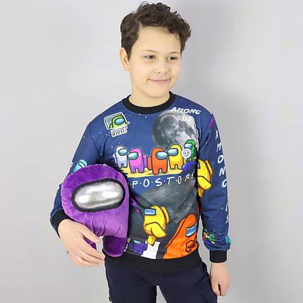26884тсин Свитшот для мальчика AMONG US синий тм MUKO размер 7-8,10-11,12-13,13-14 лет, фото 2