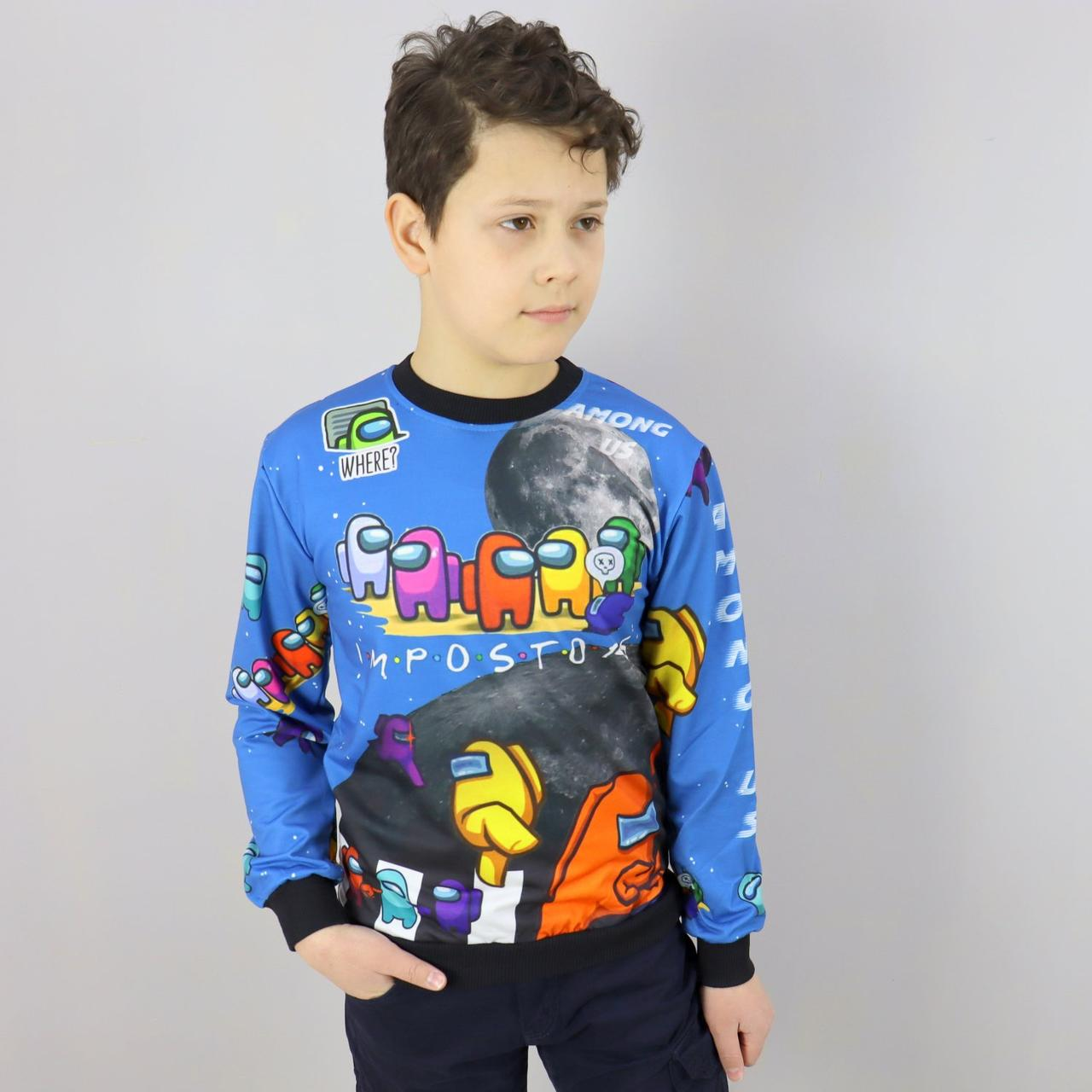 26884син Світшот для хлопчиків AMONG US синій тм MUKO розмір 7-8,9-10,10-11,12-13,13-14 років