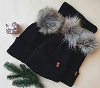 Комплект зимний шапка с натуральным помпоном и хомут