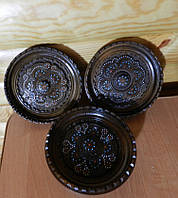 Конфетниця горіхова ручної роботи різьблена та інхрустована бісером