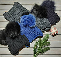 Комплект зимний шапка с двумя помпонами и хомут
