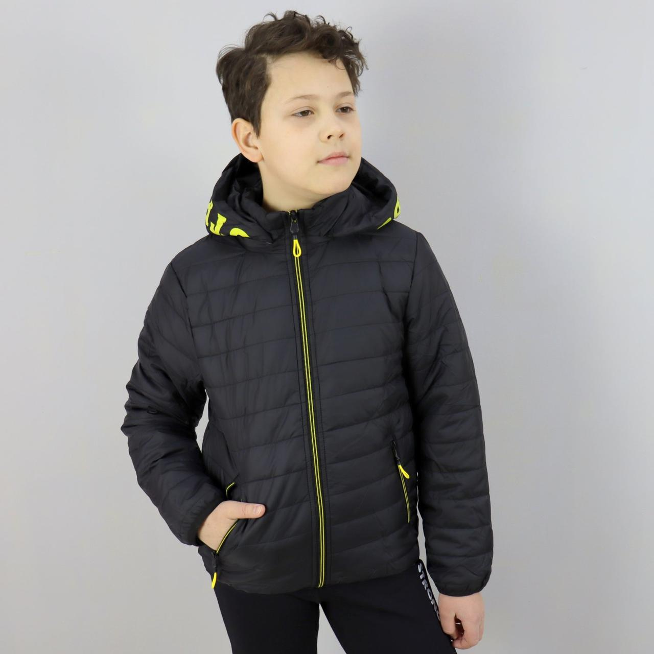 1878чер Чорна демісезонна куртка для хлопчика тм SEAGULL розмір 10,14 років