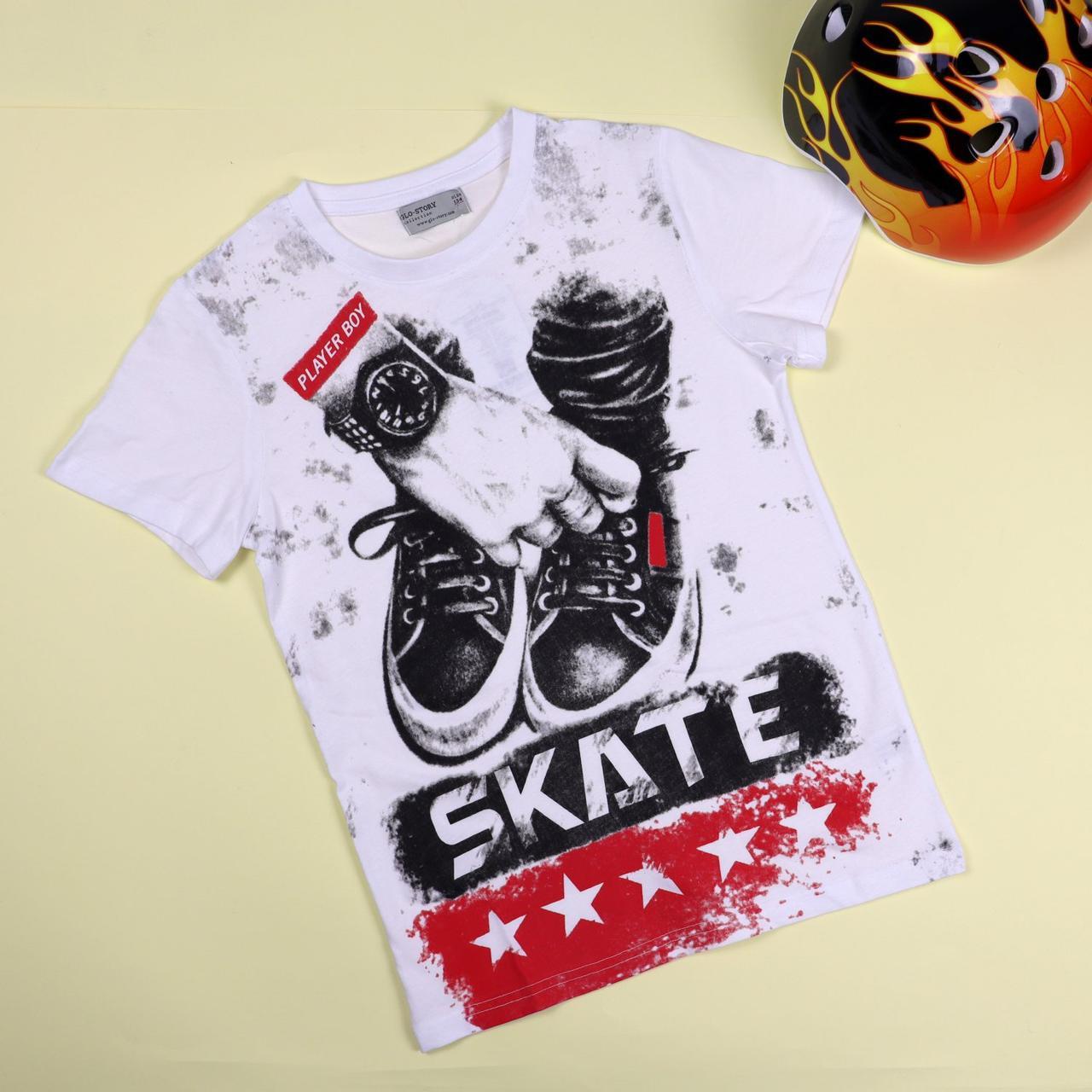 0266бел Біла футболка для хлопчика Кеди тм GLO-STORY розмір 158 см