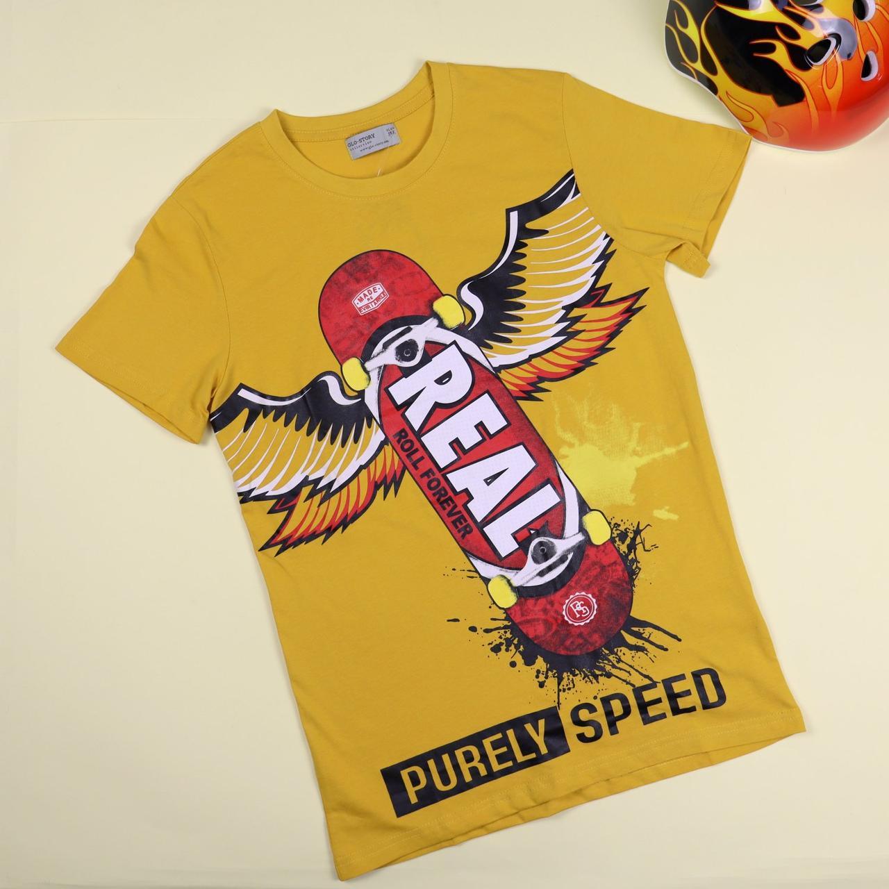 0265жел Жовта футболка для хлопчика Скейт тм GLO-STORY розмір 158 см