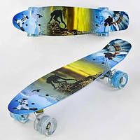 Скейт Penny board F 3270 с принтом колеса світяться дека 55 см