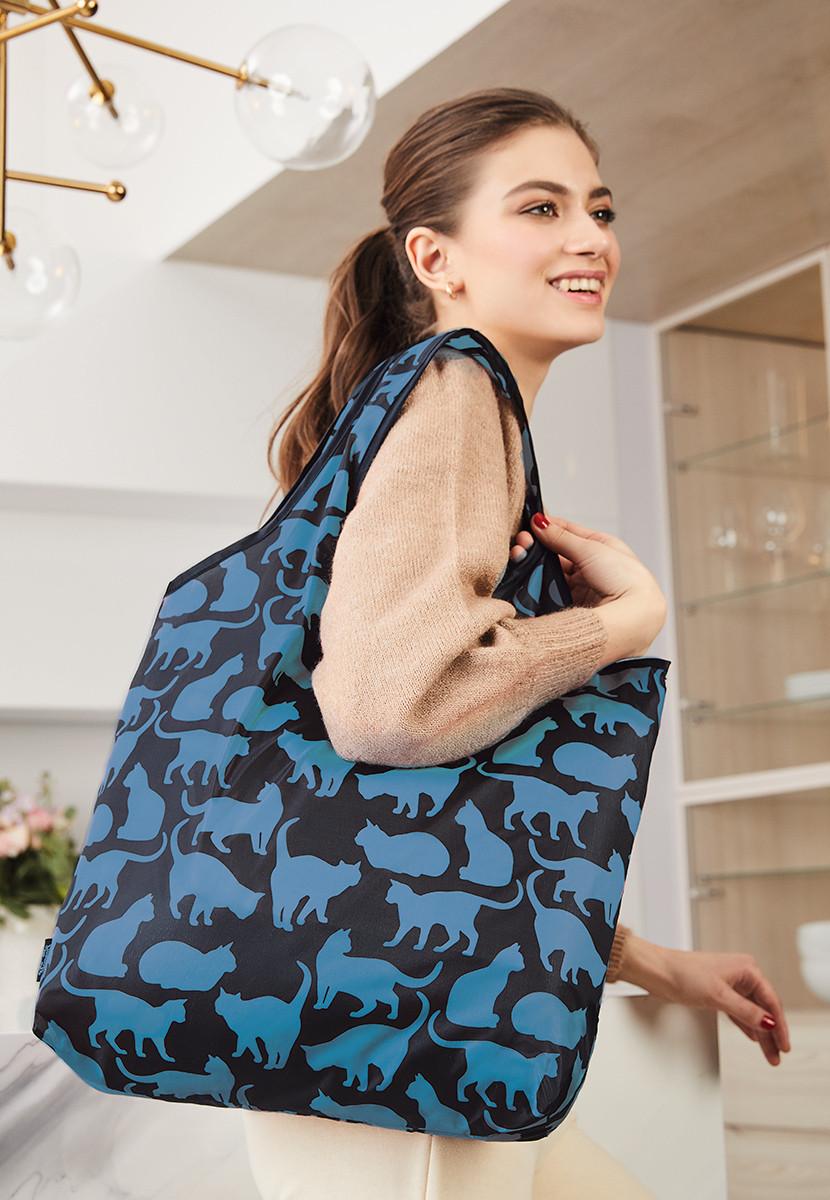 Складна сумка «Забавні котики», колір чорно-голубий