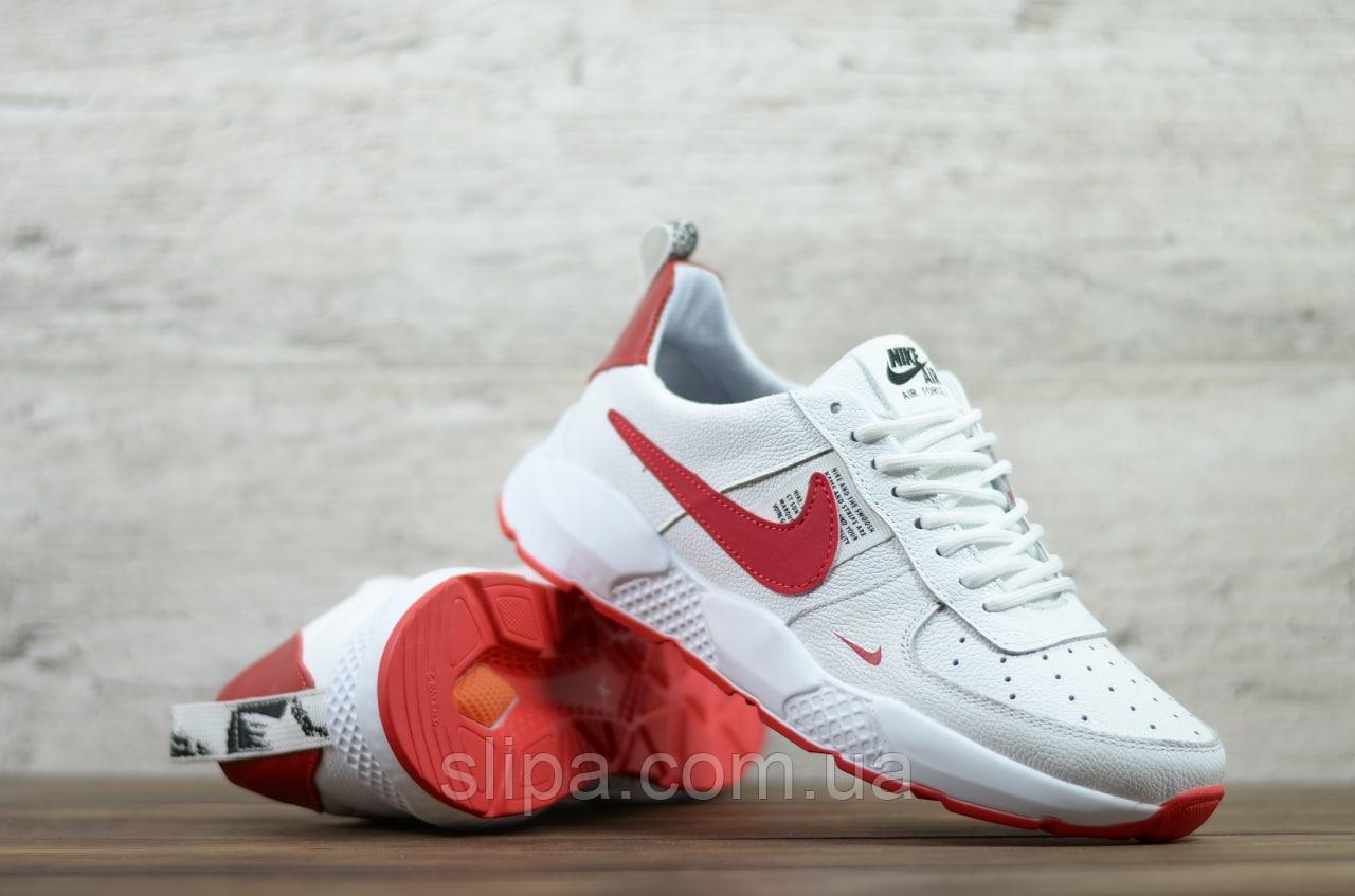 Мужские кожаные кроссовки Nike, белые с красным