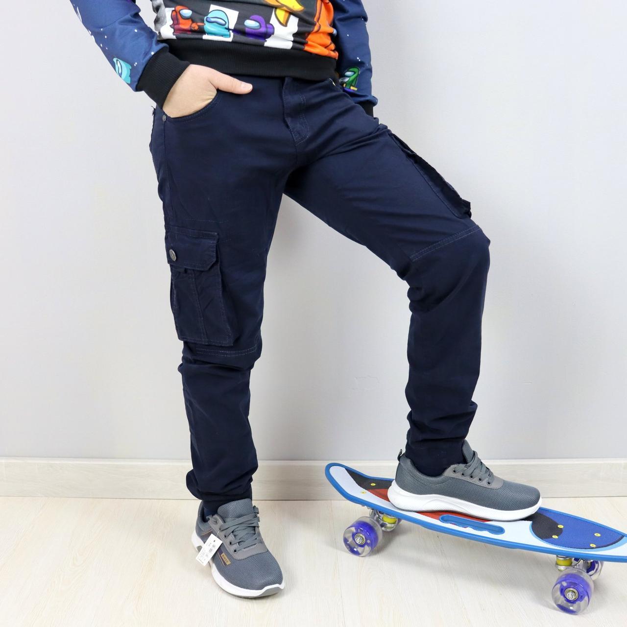 68006син Синие брюки джоггеры для мальчика тм SEAGULL размер 158,164 см
