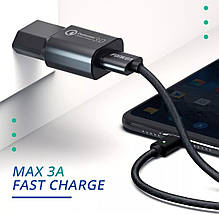 Магнітний Кабель FONKEN USB - Type-C 3A 1 Метр Чорний, фото 2