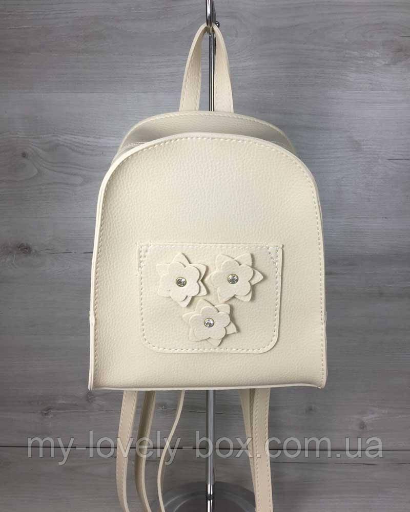 Жіночий рюкзак «Квіти» бежевий