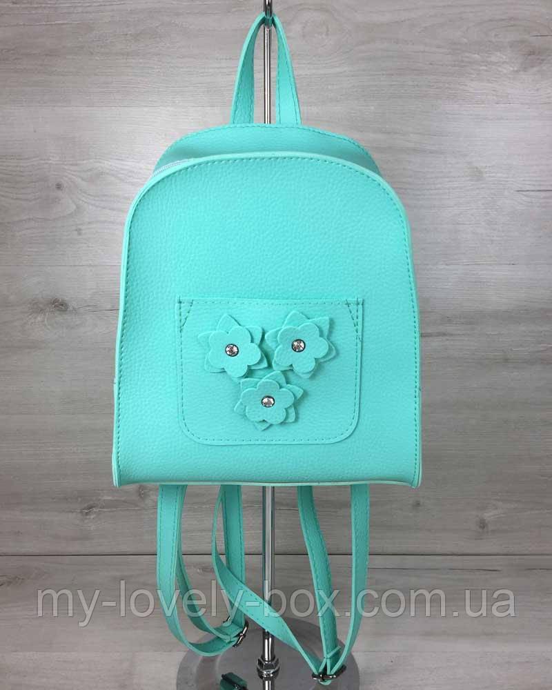 Женский рюкзак «Цветы» мятного цвета