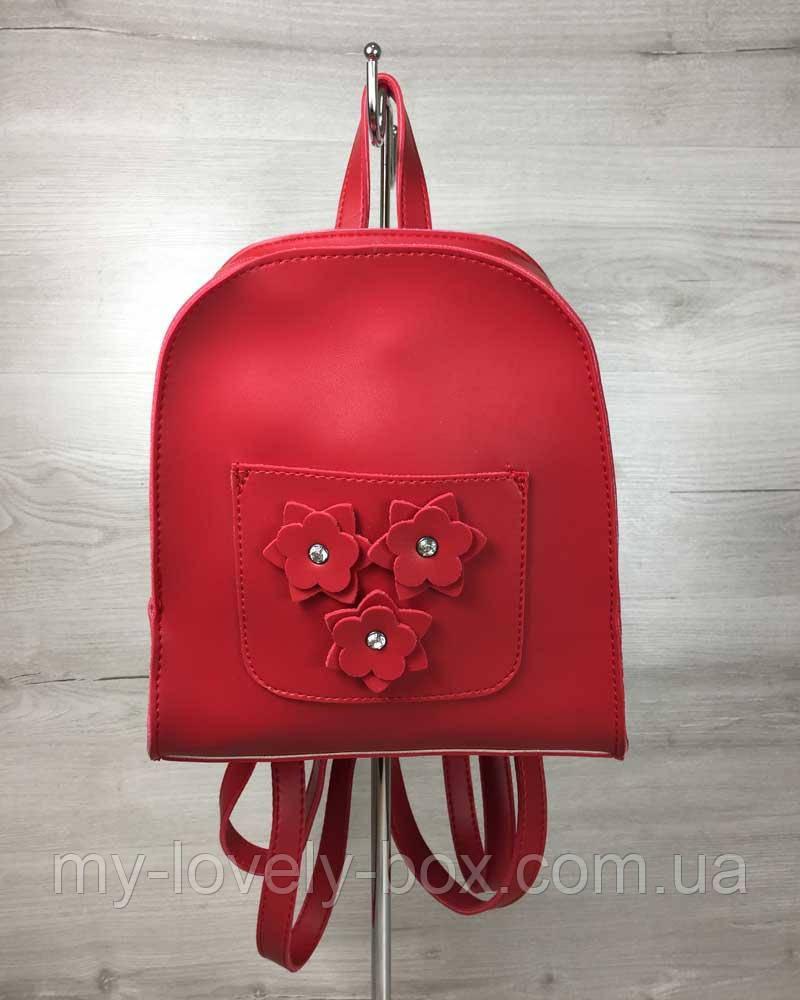 Женский рюкзак «Цветы» красный
