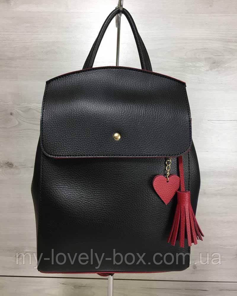 Рюкзак «Серце» чорний з червоним