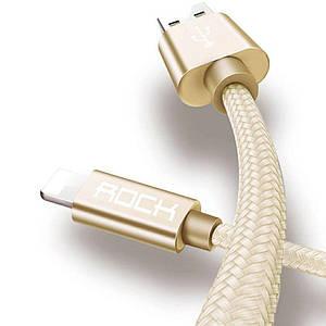 Кабель Rock Lightning для iPhone 3.1 A 1 метр (золотий)